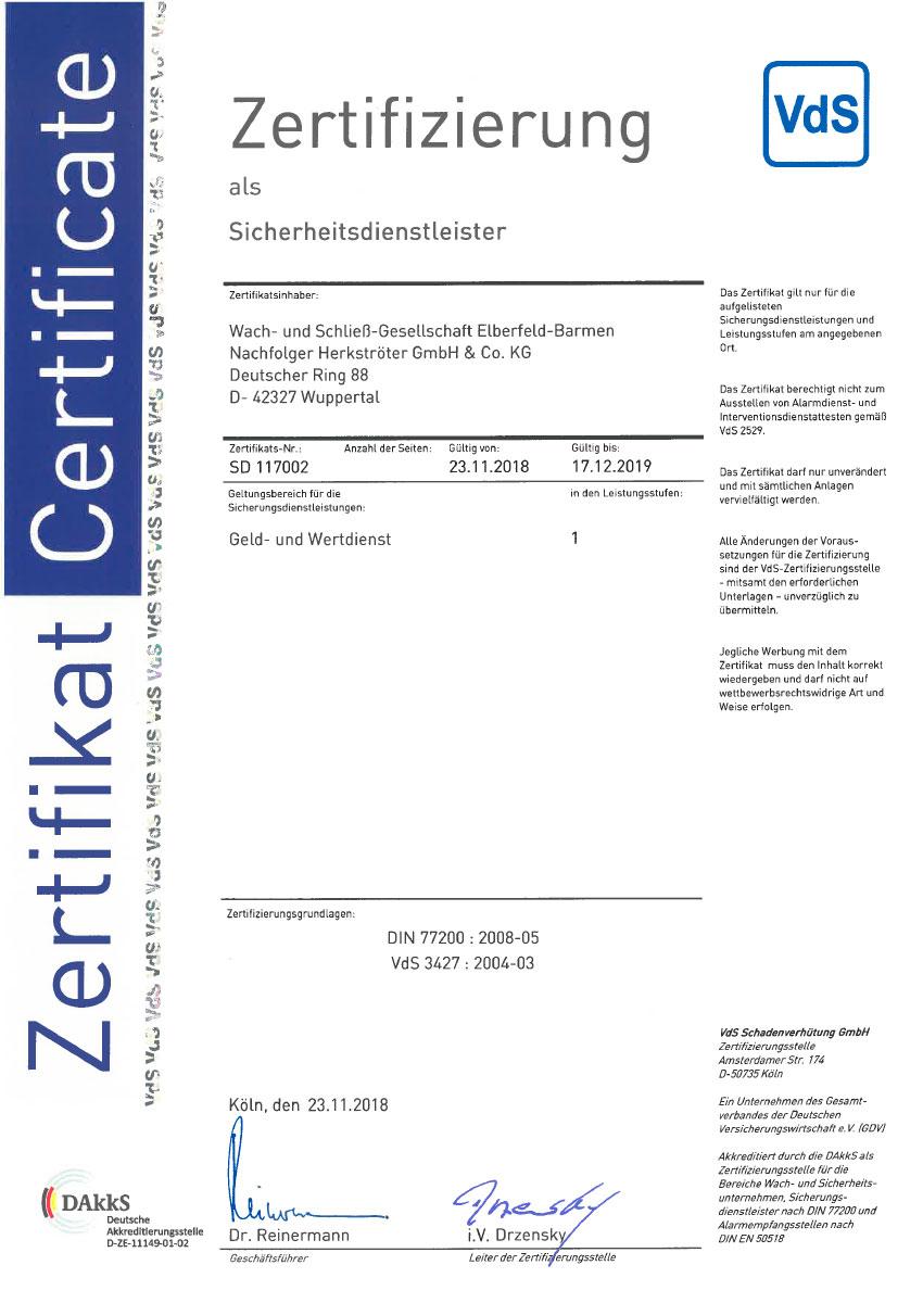 77200 Zertifikat Geld- und Wertdienst