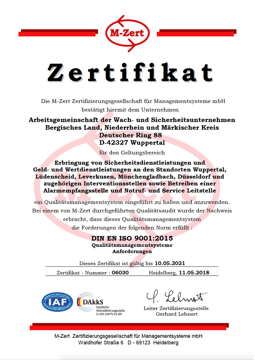 9001:2015 ARGE Wuppertal Urk QM 06030