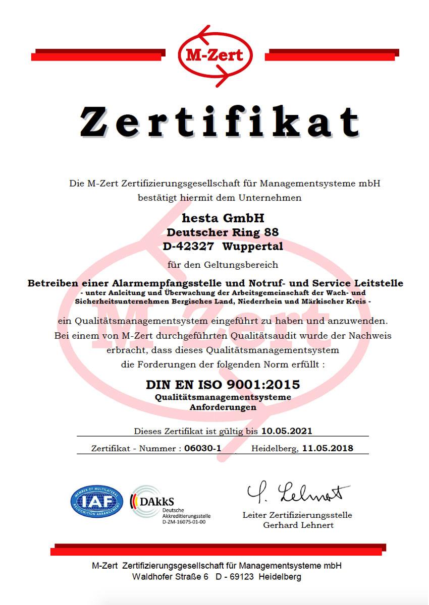 9001:2015 Hesta GmbH Urk QM 06030